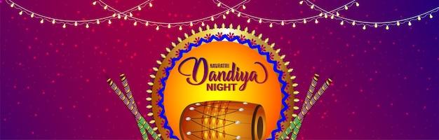 Indiase festival dandiya nacht viering banner met vectorillustratie
