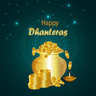Indiase festival gelukkige dhanteras viering wenskaart met gouden munt pot