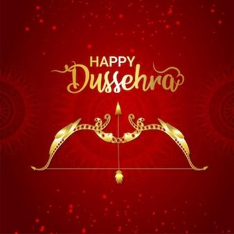 Indiase festival gelukkige dussehra-vieringskaart met gouden pijl en boog