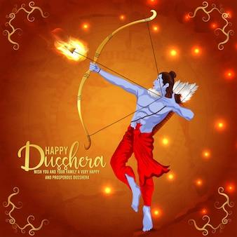 Indiase festival gelukkige dussehra-vieringskaart met vectorillustratie