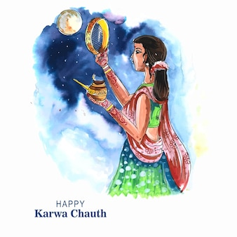 Indiase festival gelukkige karwa chauth viering achtergrond