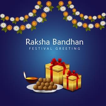 Indiase festival gelukkige raksha bandhan viering wenskaart met vectorillustratie van rakhi en geschenken