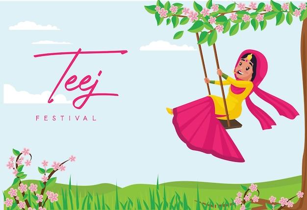 Indiase festival haryali teej banner ontwerpsjabloon