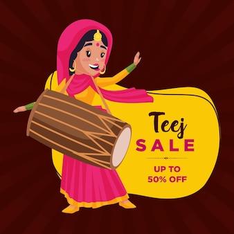 Indiase festival haryali teej verkoop banner ontwerpsjabloon
