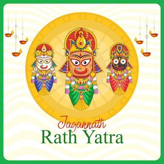 Indiase festival jagannath rath yatra banner ontwerpsjabloon