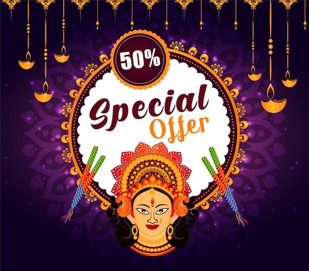 Indiase festival navratri verkoop aanbieding achtergrond.