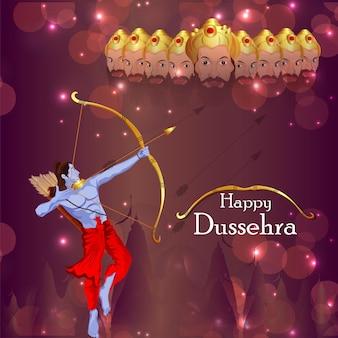 Indiase festival van gelukkige dussehra-vieringsachtergrond met illustratie van heer rama