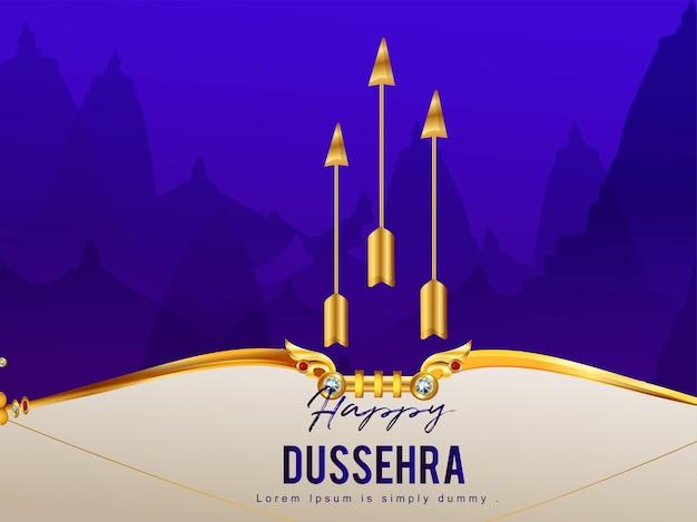 Indiase festival van happy dussehra viering achtergrond met gouden pijl en boog van lord rama