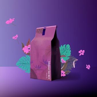 Indiase geheime thee in een papieren zak advertentie