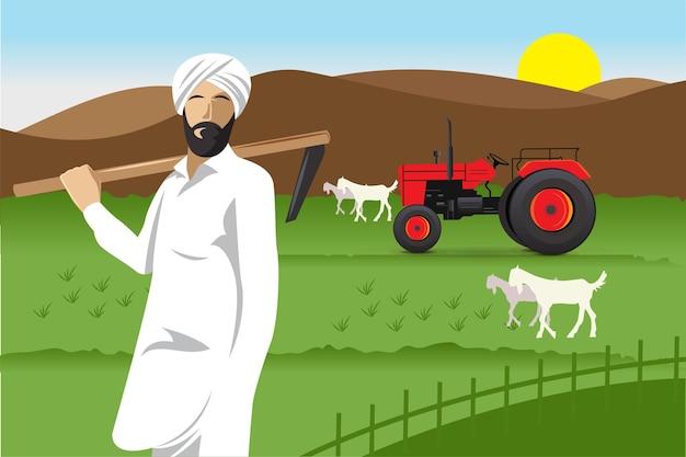 Indiase gelukkige boer met tractor in boerderij