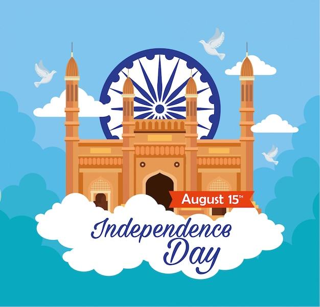 Indiase gelukkige onafhankelijkheidsdag kaart, viering 15 augustus