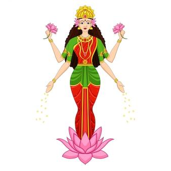 Indiase godin op roze lotus