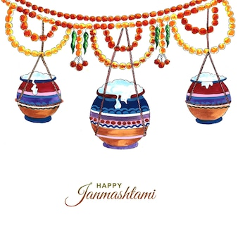 Indiase hindoe festival van janmashtami viering kaart ontwerp