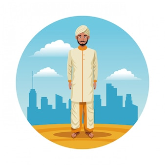 Indiase india man ronde pictogram cartoon