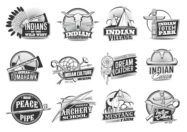 Indiase inheemse amerikanen iconen, wild west-cultuur en tradities