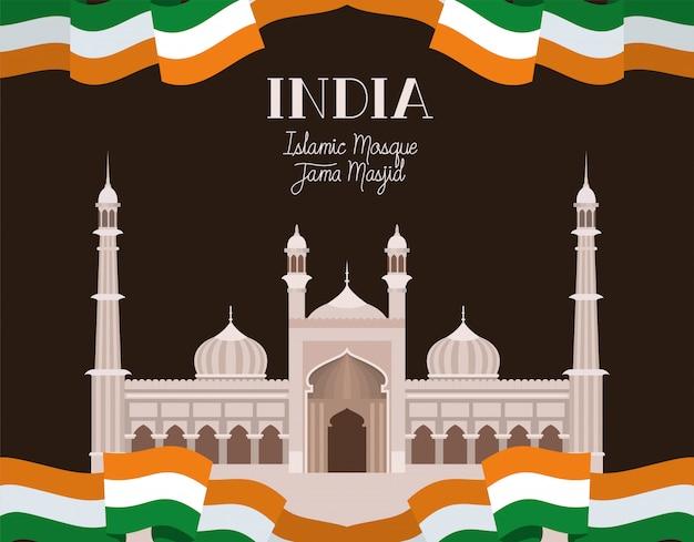 Indiase jama masjid tempel met vlag