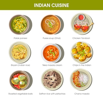 Indiase keuken traditionele gerechten vector plat pictogrammen instellen