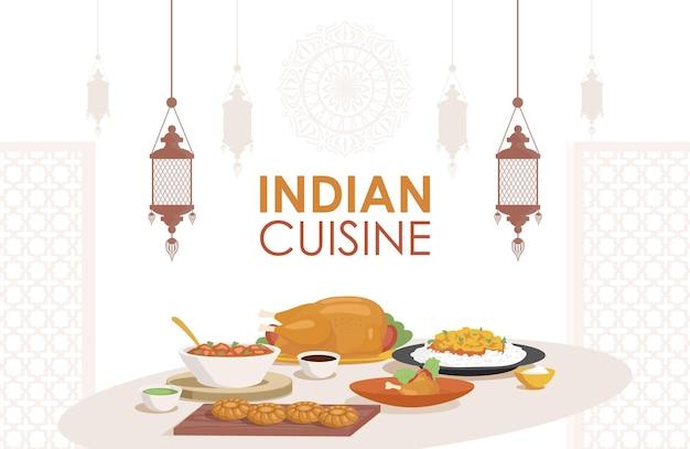 Indiase keuken vector plat posterontwerp vers en smakelijk indiaas