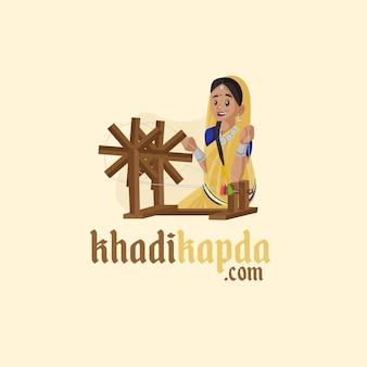 Indiase khadi kapda mascotte logo sjabloon