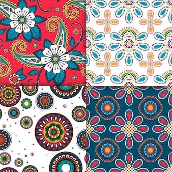 Indiase kleurrijke patroon ingesteld