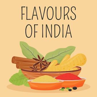Indiase kruiden sociale media plaatsen. flavours of india zin. web banner ontwerpsjabloon. traditionele kruidenversterker, inhoudslay-out met inscriptie. poster, gedrukte advertenties en platte illustratie