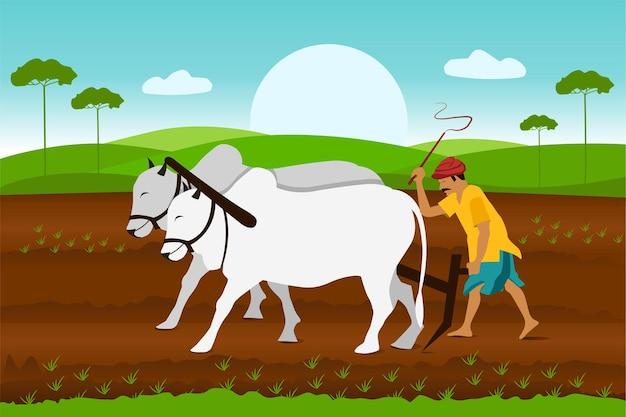 Indiase landbouw landschap boer werken in indiase rijstvelden landarbeider vector cartoon backg