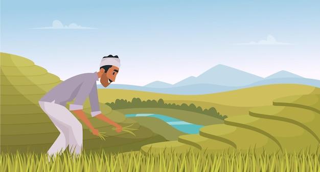 Indiase landbouw landschap. boer werkt in indiase rijstvelden landarbeider vector cartoon achtergrond. illustratie indiase landbouw, plantage landschap