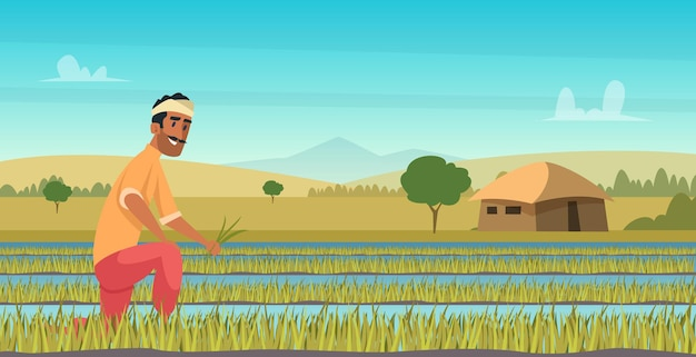 Indiase landbouw werken. boer oogsten in veld azië vector achtergrond in cartoon stijl. boerderij landbouw, werknemer indiase landbouw illustratie