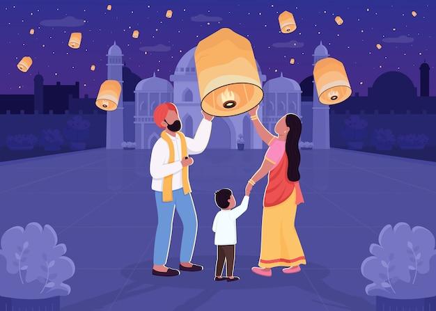 Indiase lantaarn festival egale kleur illustratie. ouder en kind met licht. diwali-viering. traditionele hindoe-vakantie. familie 2d stripfiguren met nachtelijke stadsgezicht op achtergrond