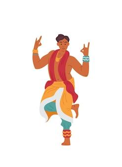 Indiase man in traditionele outfit dansen aziatisch mannelijk personage
