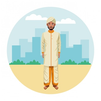Indiase man met traditionele hindoe kleding