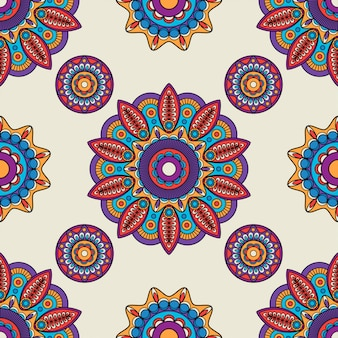 Indiase mandala ronde vector patroon