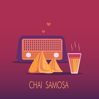 Indiase masala chai en samosa snack met radio op de achtergrond