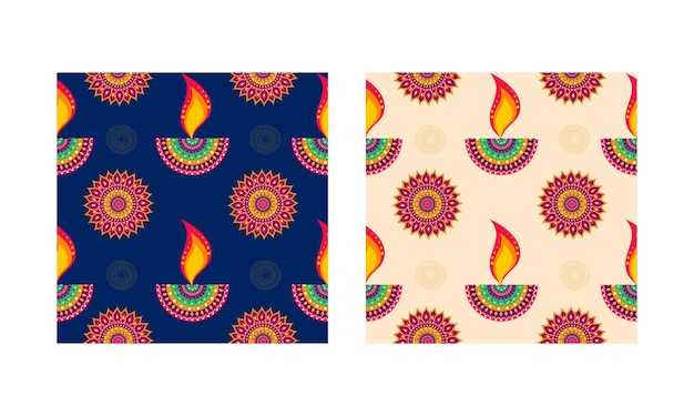 Indiase olielamp (diya) en bloemmotief versierde achtergrond in twee kleurenoptie.
