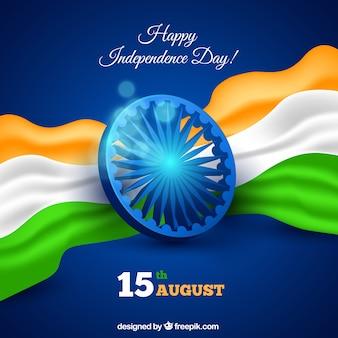 Indiase onafhankelijkheidsdag achtergrond in realistische stijl