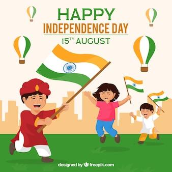 Indiase onafhankelijkheidsdag achtergrond met spelende kinderen