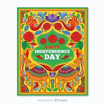 Indiase onafhankelijkheidsdag poster sjabloon