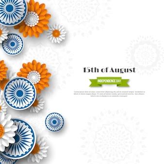 Indiase onafhankelijkheidsdag vakantie ontwerp. 3d-wielen met bloemen in traditionele driekleur van indiase vlag. papier gesneden stijl. witte achtergrond, vectorillustratie.