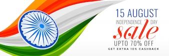 Indiase onafhankelijkheidsdag verkoop banner met driekleurige vlag