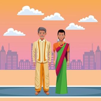 Indiase paar avatar stripfiguur