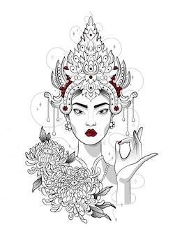 Indiase prinses met een kroon op haar hoofd