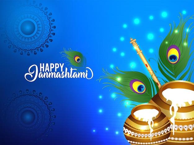 Indiase religie festival gelukkig janmashtami vector illustratie achtergrond