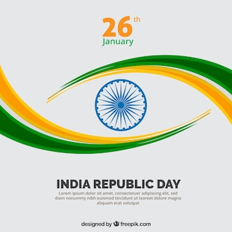 Indiase republiek dag achtergrond met groene en gele golvende vormen