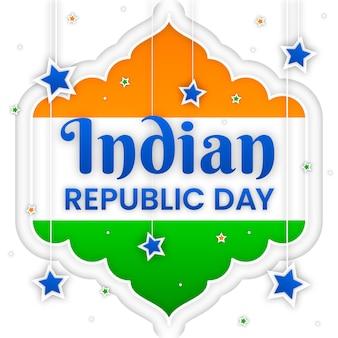 Indiase republiek dag in papieren stijl