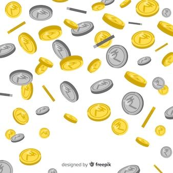 Indiase roepie munten regen