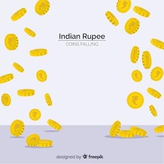Indiase roepie munten vallen