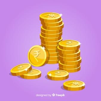 Indiase roepie munten vallende achtergrond