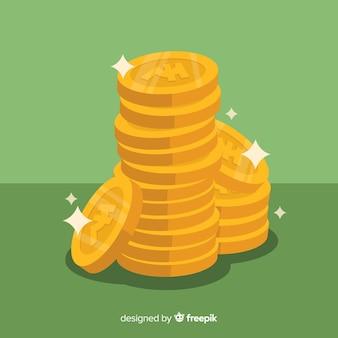 Indiase rupee gouden muntenstapel