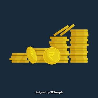 Indiase rupee muntstuk stapels