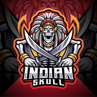Indiase schedel esport mascotte logo